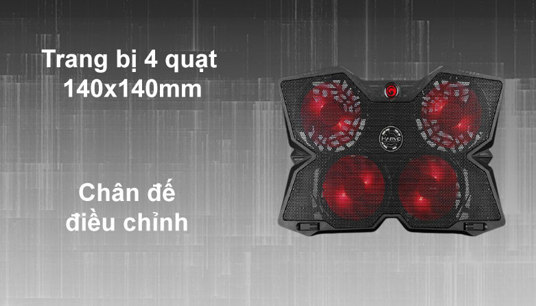 Fan laptop MARVO FN-38RD LED   Trang bị 4 quạt, Chân đế điều chỉnh