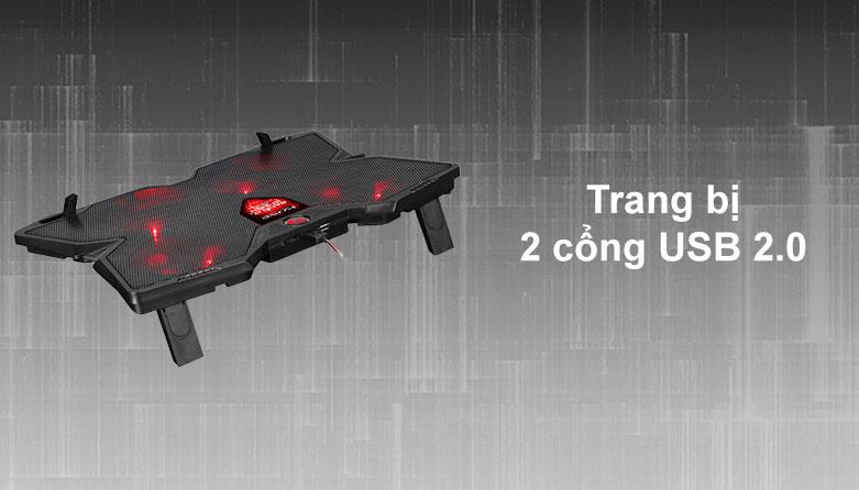Fan laptop MARVO FN-38RD LED   Trang bị 2 cổng USB 2.0