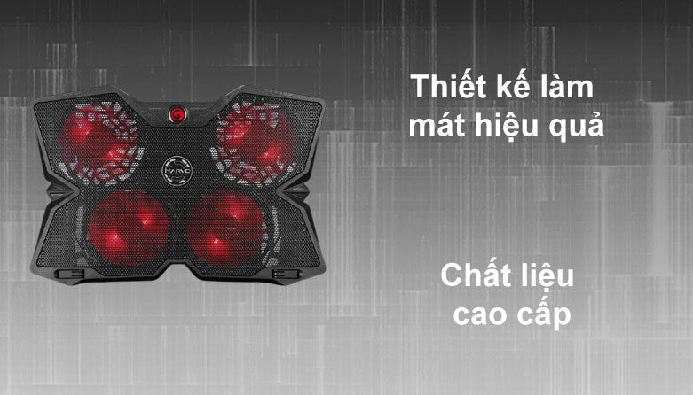 Fan laptop MARVO FN-38RD LED   Thiết kế làm mát hiệu quả, Chất liệu cao cấp