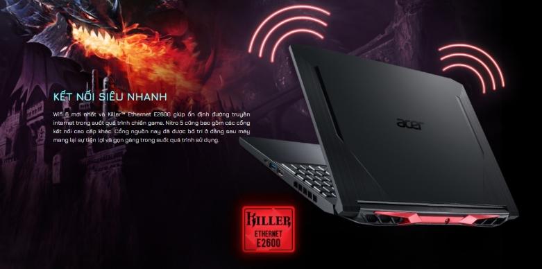 Máy tính xách tay ACER Nitro 5 AN515-55-72P6 | Kết nối siêu nhanh