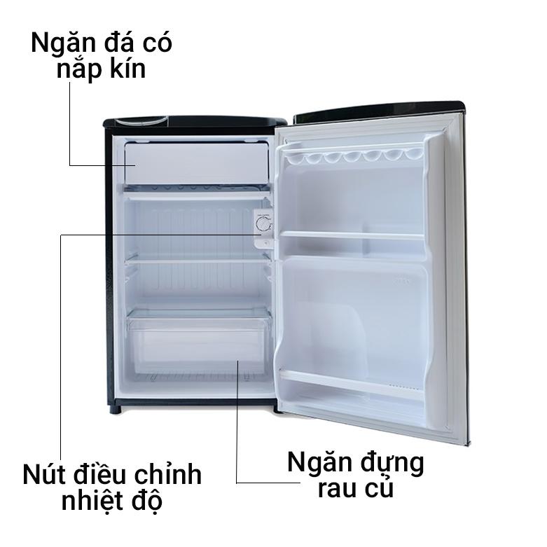 Tủ lạnh Aqua 90 lít AQR-D99FA.BS   Ngăn đá có nắp kính