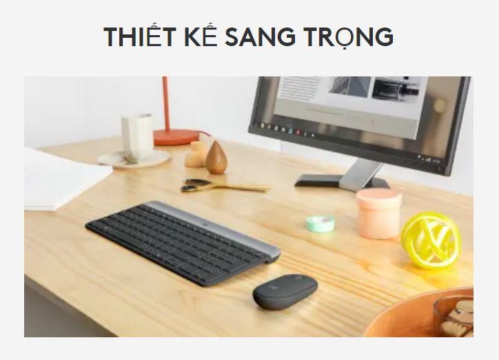 Bộ bàn phím, chuột không dây Logitech MK470 Slim | Thiết kế sang trọng