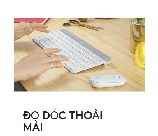 Bộ bàn phím, chuột không dây Logitech MK470 Slim | Độ dốc thoải mái