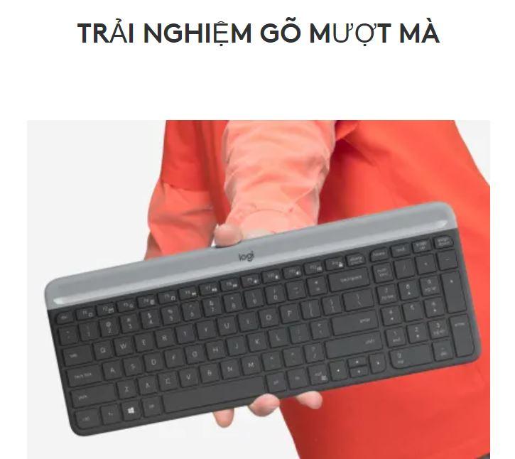 Bộ bàn phím, chuột không dây Logitech MK470 Slim | Trải nghiệm gõ mượt mà