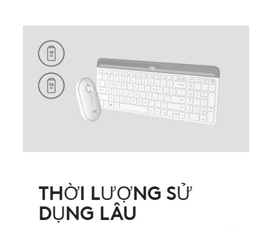 Bộ bàn phím, chuột không dây Logitech MK470 Slim | Thời lượng sử dụng lâu
