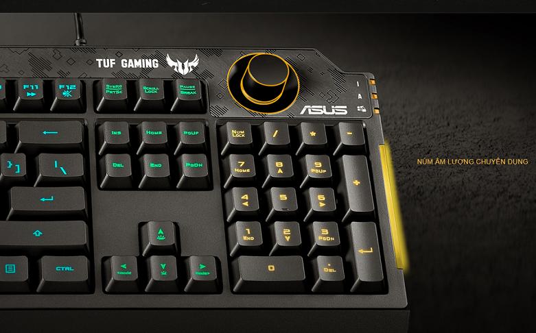 Bàn phím gaming Asus TUF K1 (Đen) | Nút âm lượng chuyên dụng