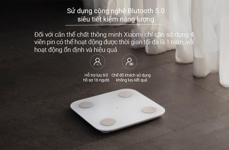 Cân điện tử Xiaomi Mi Body Composition Scale 2 NUN4048GL   Sử dụng công nghệ Bluetôth 5.0
