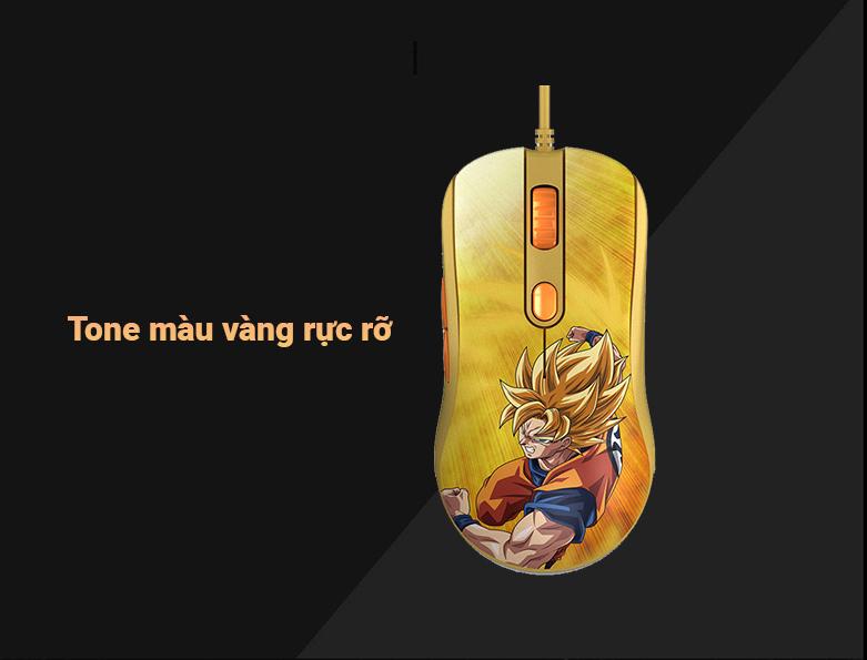 Chuột gaming Akko AG325 Dragon Ball Super - Goku SSG | Tone màu vàng rực rỡ