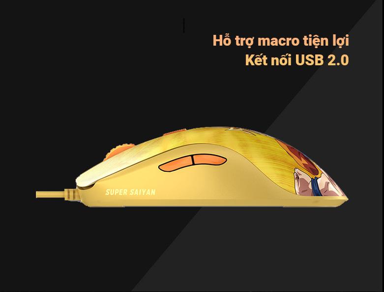 Chuột gaming Akko AG325 Dragon Ball Super - Goku SSG | Hỗ trợ Macro tiện lợi