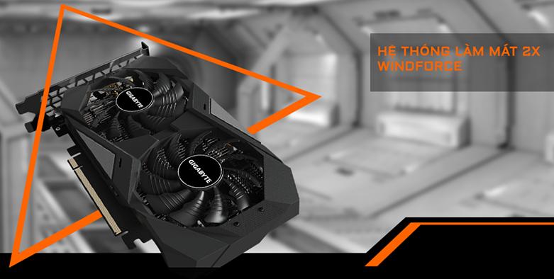 VGA Gigabyte GeForce GTX 1650 D6 WINDFORCE OC 4G (GV-N1656WF2OC-4GD) | Hệ thống làm mát 2X