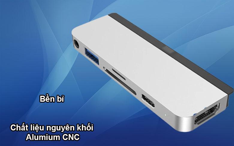 Hub Hyperdrive 6 in 1 HDMI 4K/60Hz USB-C Hub (HD319B-SL) (Bạc)   Thiết kê bền bỉ