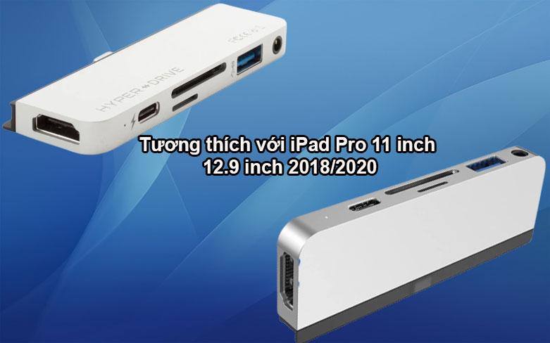 Hub Hyperdrive 6 in 1 HDMI 4K/60Hz USB-C Hub (HD319B-SL) (Bạc)   Tương thích với nhiều thiết bị
