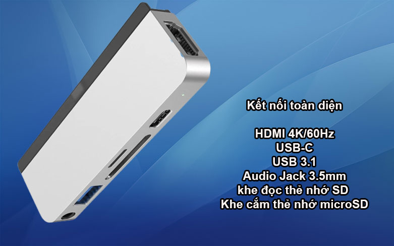 Hub Hyperdrive 6 in 1 HDMI 4K/60Hz USB-C Hub (HD319B-SL) (Bạc)   Kết nối toàn diện