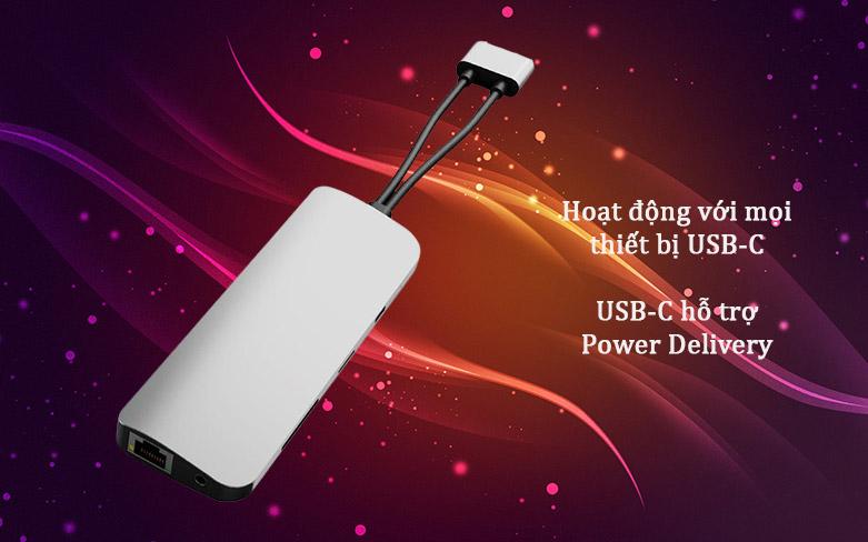 Hub Hyperdrive Viber 10-IN-2 4K60Hz HD392-GR (Xám) | Nhiều cổng kết nối hiện đại