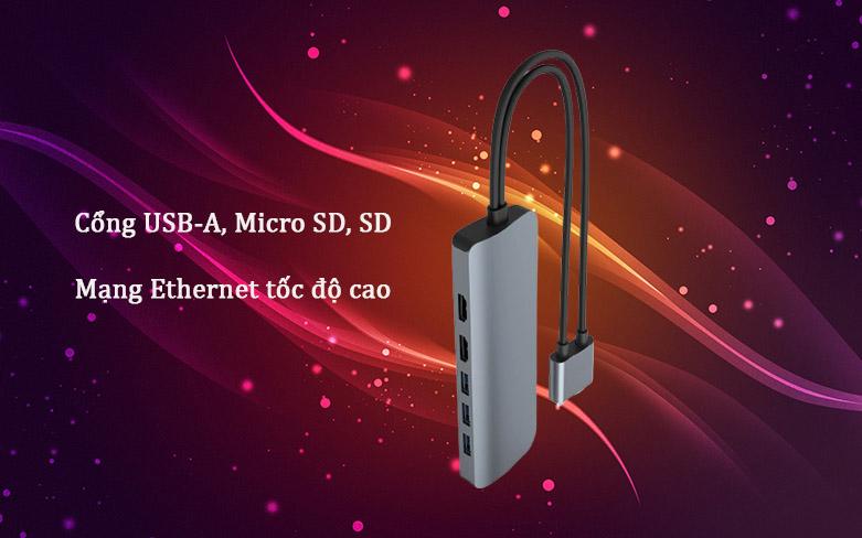 Hub Hyperdrive Viber 10-IN-2 4K60Hz HD392-GR (Xám) | Cổng truyền tải tốc độ cao