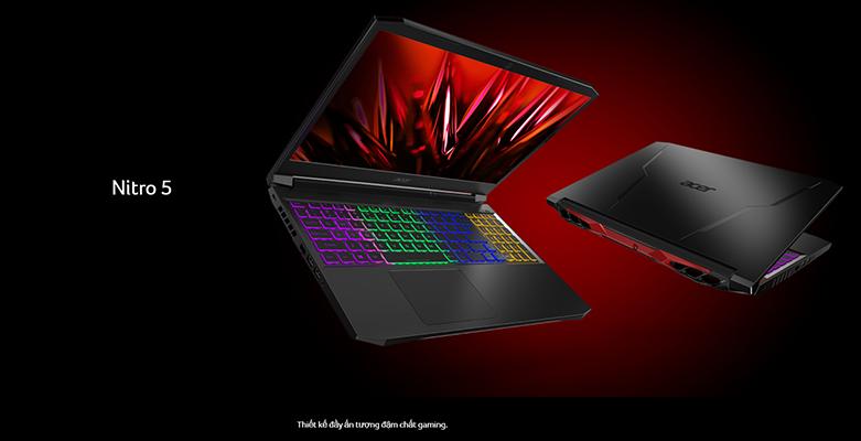 Laptop Acer Nitro 5 AN515-44-R9JM (NH.Q9MSV.003) (AMD Ryzen 5 4600H) (Đen) | Thiết kế gaming