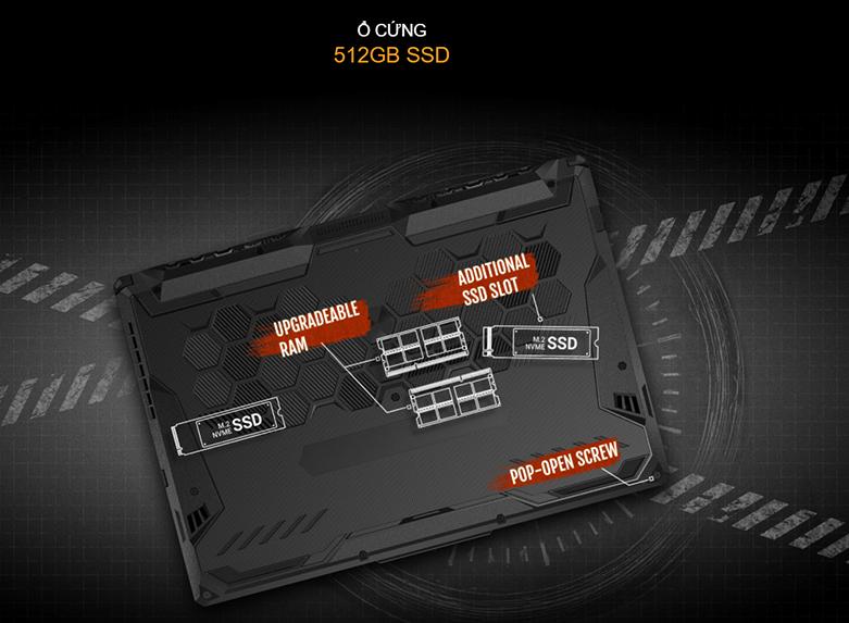 Laptop Asus TUF Gaming FX506LH-HN002T (i5-10300H) (Xám) | Lưu lượng lưu trữ thoải mái