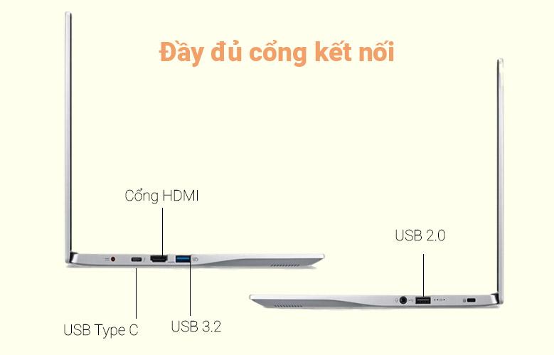 Laptop Asus Vivobook X415MA-BV087T (N4020) (Bạc)   Đầy đủ cổng kết nối