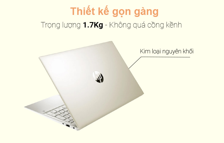 Laptop HP Pavilion 15-eg0007TX (2D9D5PA) (i7-1165G7) (Vàng) | Thiết kế gọn gàng