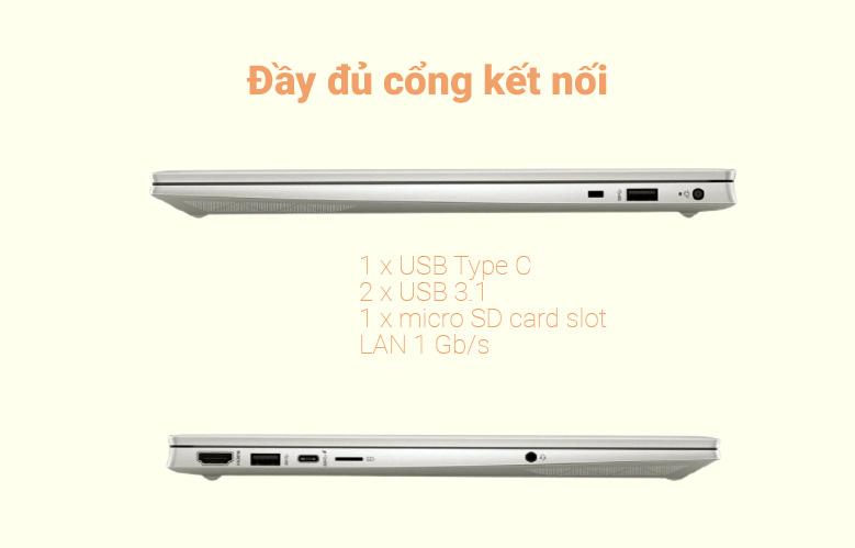 Laptop HP Pavilion 15-eg0007TX (2D9D5PA) (i7-1165G7) (Vàng) | Đầy đủ cổng kết nối
