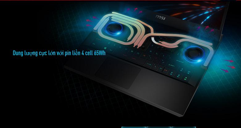 Laptop MSI Leopard GP66 10UE-206VN | Dung lượng pin cực lớn