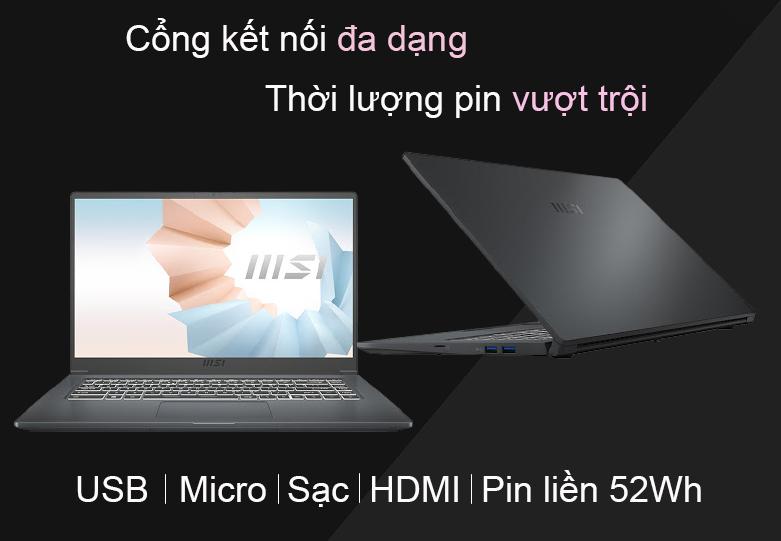 Laptop MSI Modern 15 A11M 200VN   Cổng kết nối đa dạng