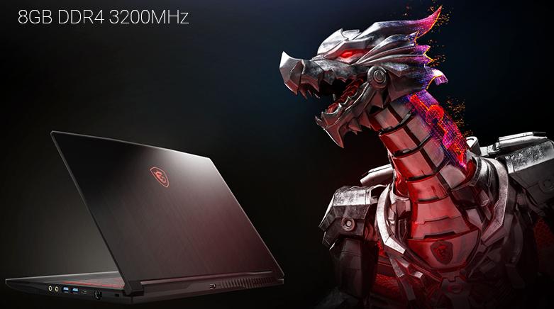 Laptop MSI Thin GF63 10SC-020VN (i7-10750H) (Đen) | Bộ nhớ trong 8GB