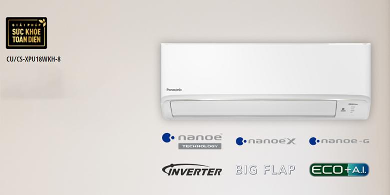 Máy lạnh PANASONIC CU/CS-XPU18WKH-8 Inverter 2 HP   Công suất làm lạnh lên đến 2HP