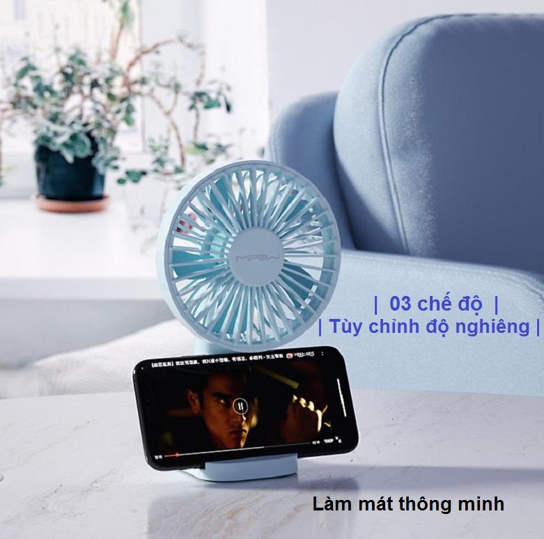 Quạt Thông Minh Mipow Flip Adjust Mini Fan (Xanh) | Lam mát thông minh