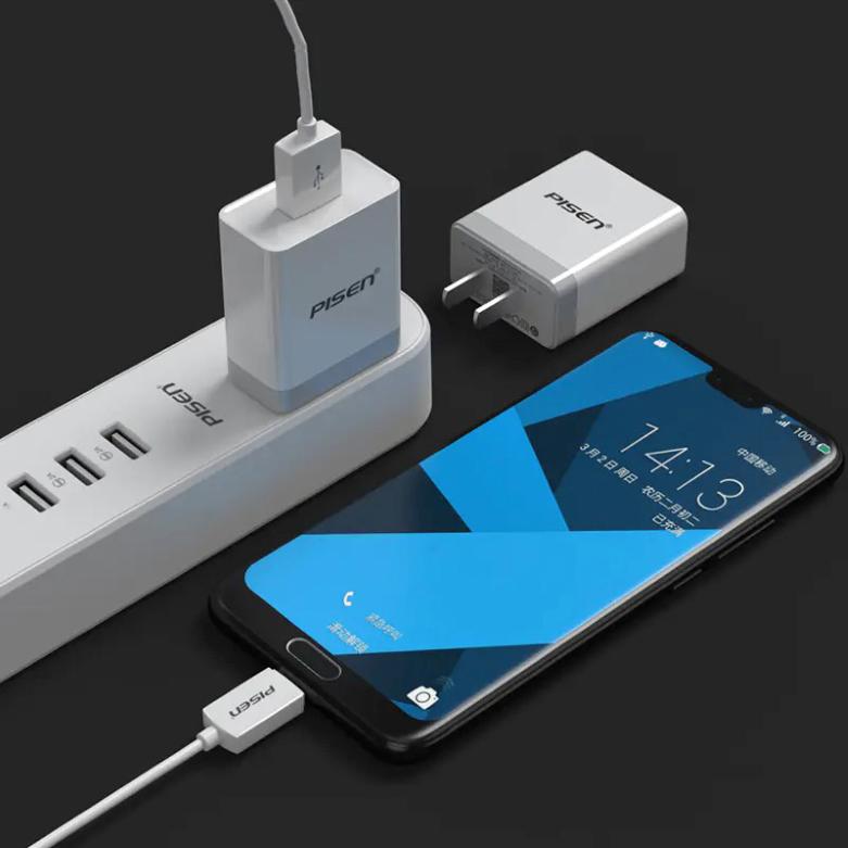 Sạc Điện Thoại Pisen USB Fast Wall Charger QC 18W TS-C092 | Thiết kế nhỏ gọn