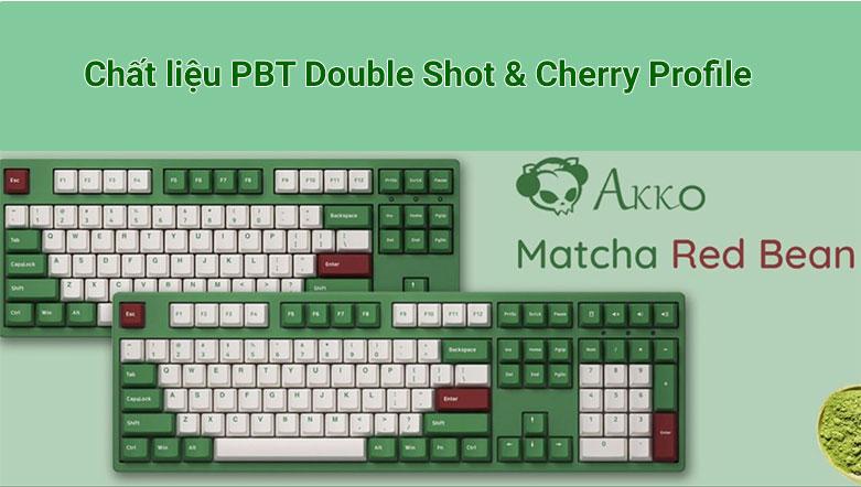 Bàn phím cơ Akko 3098 DS Matcha Red Bean (Akko Pink Switch V2) | Chất liệu PBT