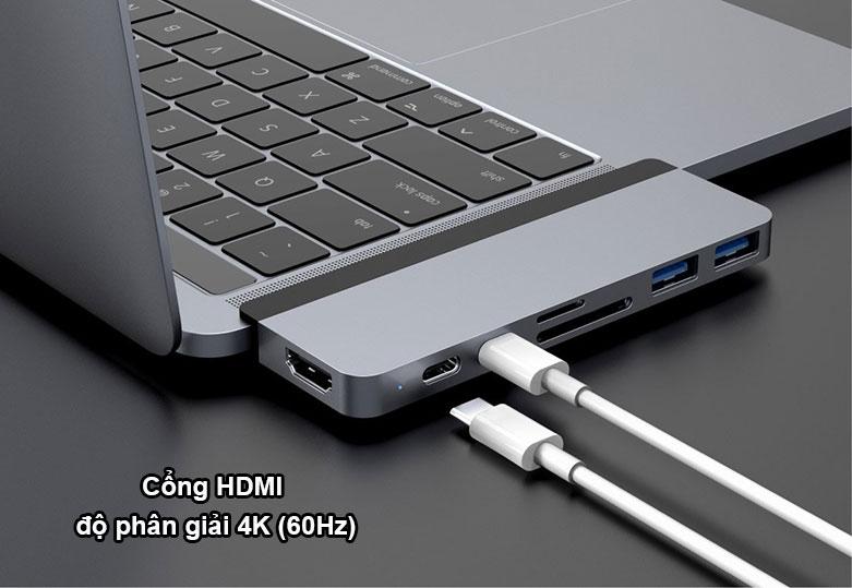 Hub Hyperdrive Duo 7-in-2 4K60Hz USB-C Hub (HD28C-GR) (Xám) |Cổng HDMI độ phân giai 4K