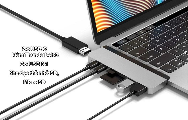 Hub Hyperdrive Duo 7-in-2 4K60Hz USB-C Hub (HD28C-GR) (Xám) | Đa dạng kết nối