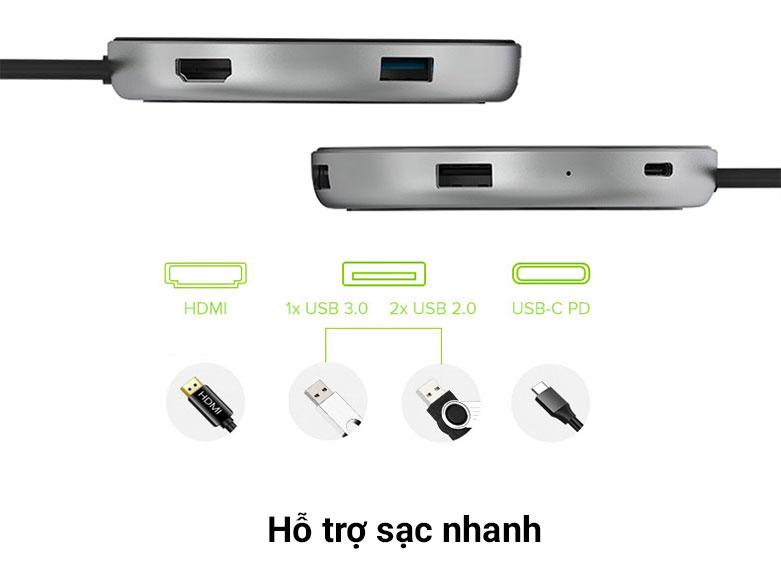 Bộ chia/ Hub/ Sạc không dây JCPAL USB-C Multiport JCP6224   Hỗ trợ sạc nhanh