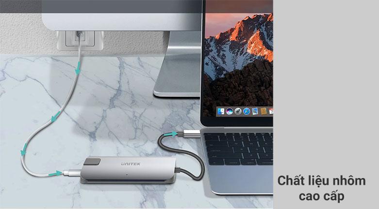 Bộ chia/ Hub Type-C -> HDMI +VGA+LAN Unitek Y-DK 09016 GY   Chất liệu nhôm cao cấp