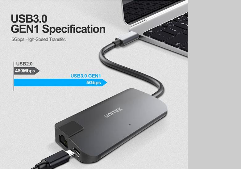 Bộ chia/ Hub Type-C -> HDMI +VGA+LAN Unitek Y-DK 09016 GY   Tích hợp cổng kết nối