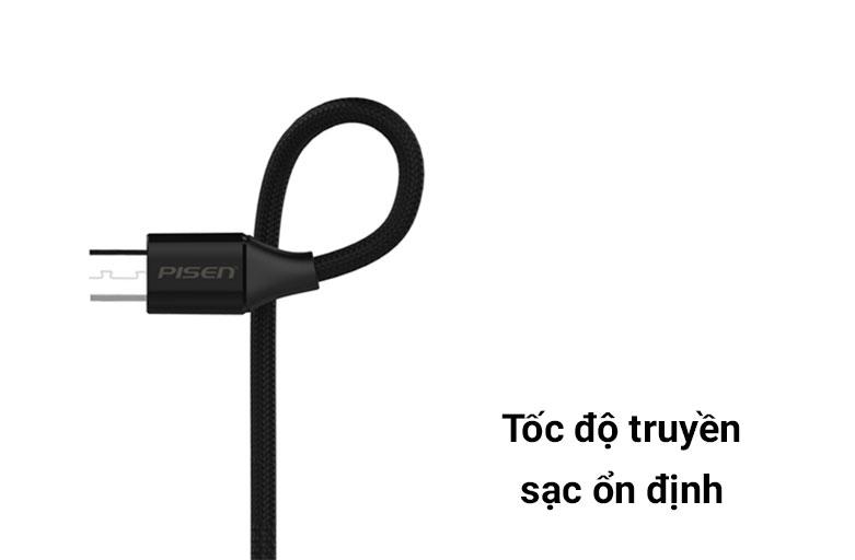 Cáp Sạc Điện Thoại PISEN Micro USB 2.4A Braided 1.2m | Tốc độ truyền sạc ổn định