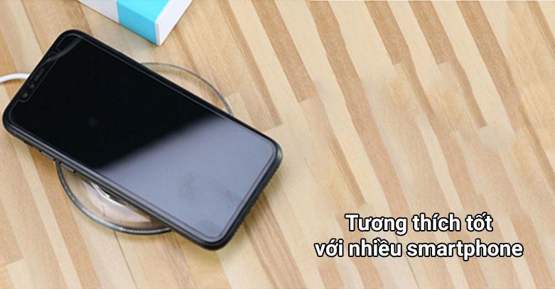 Đế sạc không dây Remax RP-W1 (Trắng)   Tương thích tốt với nhiều smartphone