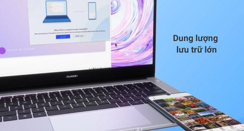 Laptop Huawei Matebook D 14 Nbl-WAP9R (AMD Ryzen 7 3700U) | Dung lượng lưu trữ lớn