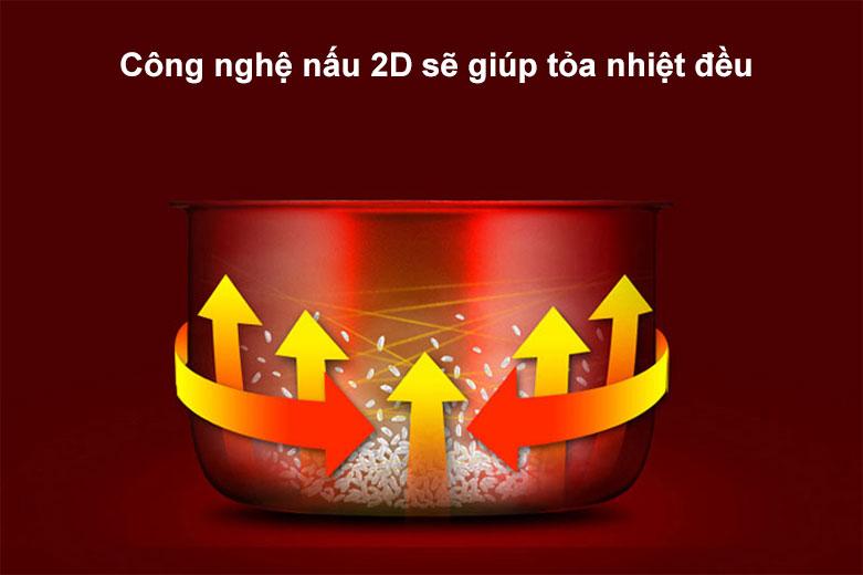 Nồi cơm nắp gài 1.8L Sharp KS-181TJV   Công nghệ nấu 2D sẽ giúp tỏa nhiệt đều