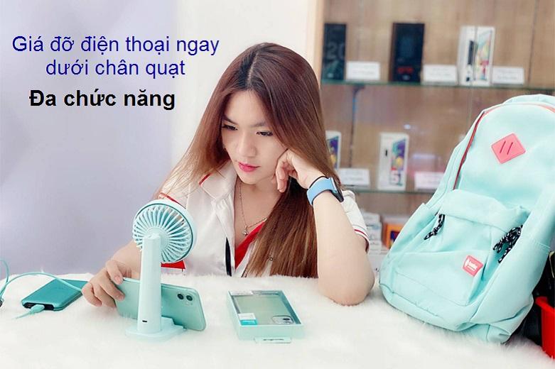 Quạt Thông Minh Mipow Flip Adjust Mini Fan (Xanh) | Gía đỡ điện thoại quay dưới chân quạt