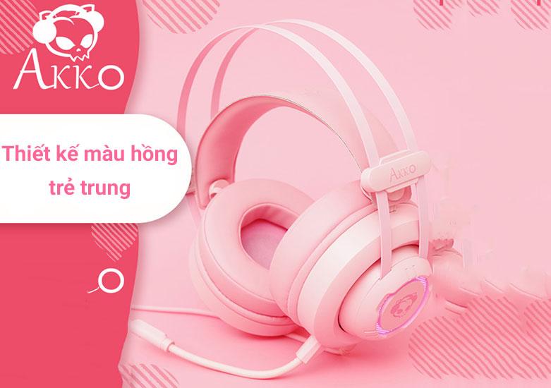 Tai nghe Akko AD701 (Hồng) là chiếc tai nghe over-ear | Thiết kế màu hồng