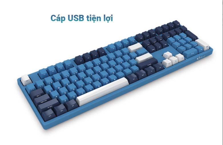 Bàn phím cơ AKKO 3108 SP (Side-printed) Ocean Star Cherry Switch (Brown) | Cáp USB tiện lợi