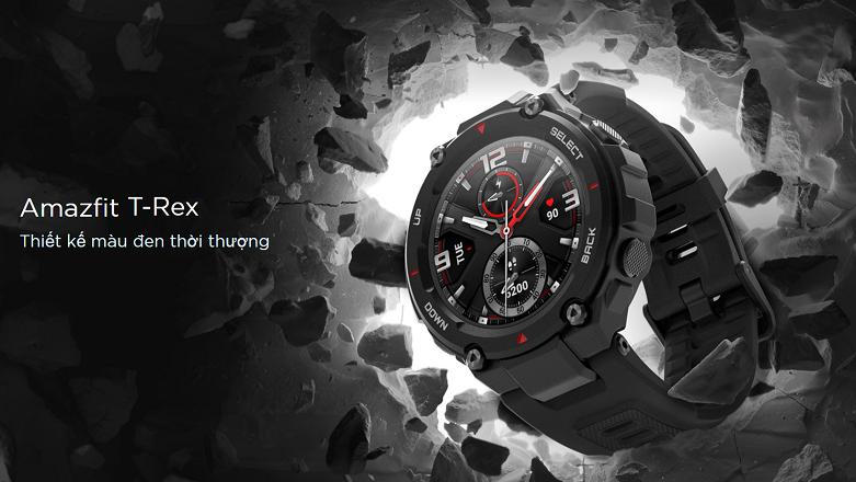 Đồng hồ thông minh AMAZFIT T-REX ROCK BLACK   Thiết kế màu đen thời thượng