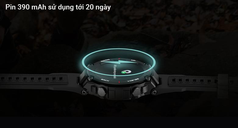 đồng hồ thông minh AMAZFIT T-REX ROCK BLACK   lượng pin cực khủng