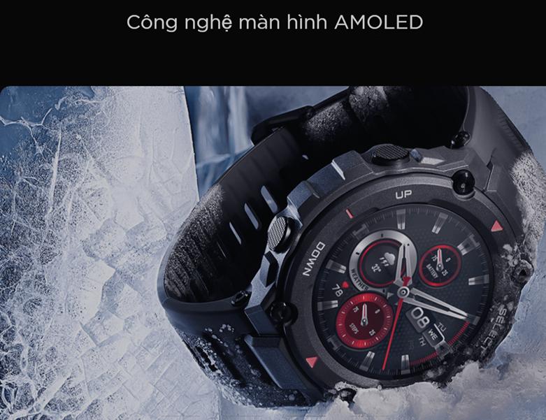 đồng hồ thông minh AMAZFIT T-REX ROCK BLACK   Công nghệ màn hình AMOLE