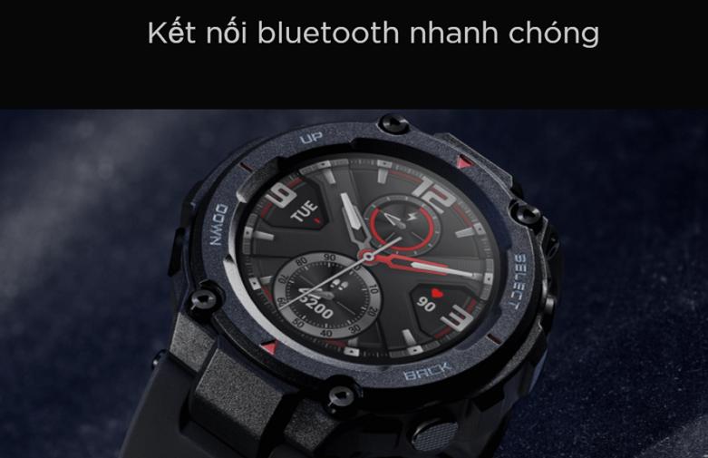 Đồng hồ thông minh AMAZFIT T-REX ROCK BLACK  Kết nối bluetooth nhanh chóng