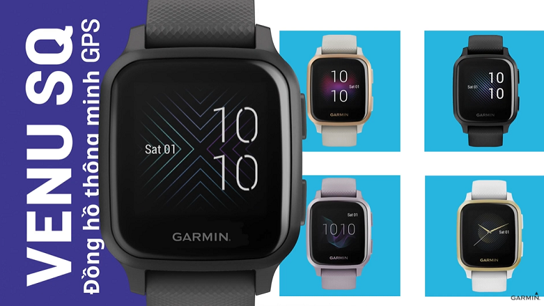 Đồng hồ thông minh Garmin Venu Sq, GPS, NFC, Music, Black/Slate, KOR/SEA_010-02426-80 | Thiết kế sang trọng