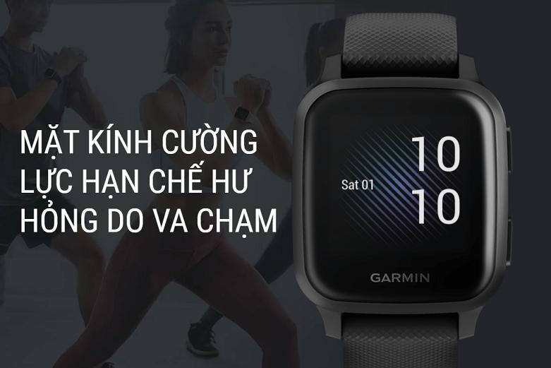 Đồng hồ thông minh Garmin Venu Sq, GPS, NFC, Music, Black/Slate, KOR/SEA_010-02426-80 | Mặt kính cường lực hạn chế