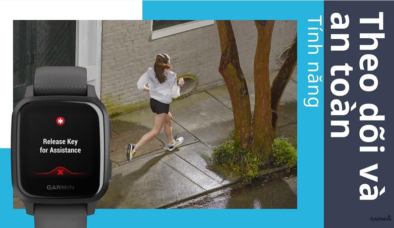Đồng hồ thông minh Garmin Venu Sq, GPS, NFC, Music, Black/Slate, KOR/SEA_010-02426-80 | Theo dõi và an toàn